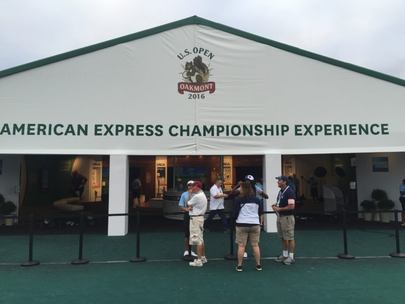 Image of American Express booth at 2016 US Open Golf Oakmont