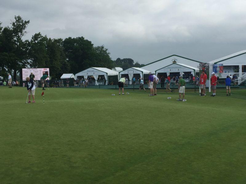 Image of spectator putting challenge green at 2016 US Open Golf Oakmont