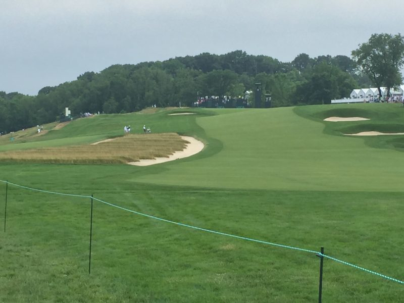 Image of church pew bunkers on Hole #3 at Oakmont Country Club during 2016 US Open Golf