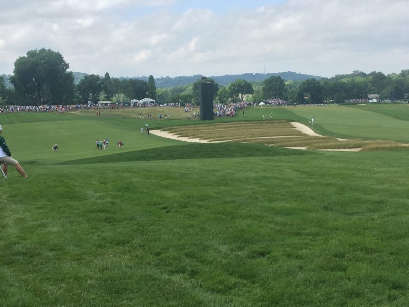 Image of church pew bunkers between Hole 3 and 4 at 2016 US Open Golf Oakmont
