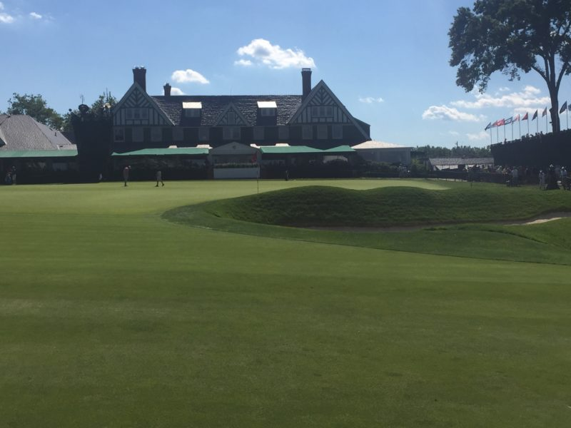 Image of 9th Green and clubhouse at 2016 US Open Golf Oakmont Country Club