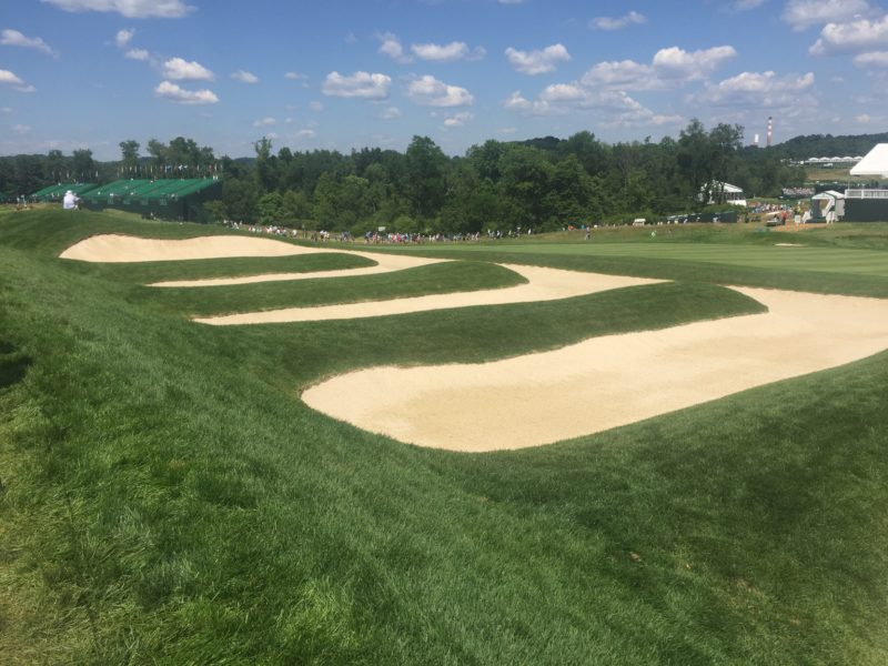 Image of fairway bunkers left of 15th Hole of 2016 US Open Golf Oakmont